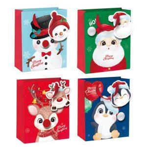 Joululahjakassit 12 kpl, iloiset hahmot, 32 x 26 x 12,5 cm