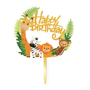 Kakkukoriste Happy Birthday, viidakon eläimet