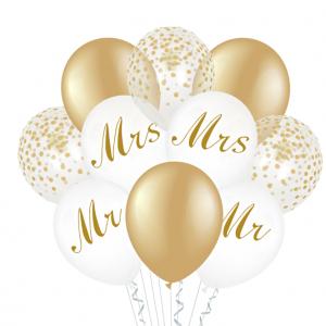 Hääilmapallosetti Mr & Mrs 10 kpl, valkoinen - kulta