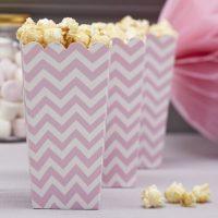Pinkit chevron popcorn-boxit, 8 kpl