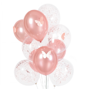 Vaaleanpunaiset ilmapallot 10 kpl, perhoskoristeet