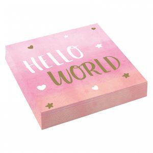 Vaaleanpunaiset Hello World lautasliinat, 16 kpl