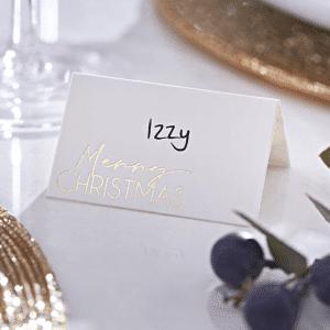 Merry Christmas paikkakortit 10 kpl, valkoinen - kulta