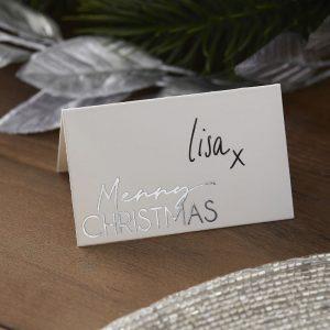 Merry Christmas paikkakortit 10 kpl, valkoinen - hopea